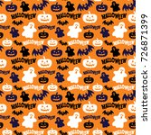 seamless pattern with ghosts ... | Shutterstock . vector #726871399