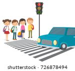 children wait for a green... | Shutterstock .eps vector #726878494
