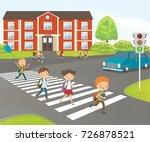 school children cross road on... | Shutterstock .eps vector #726878521
