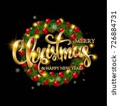 merry christmas lettering with... | Shutterstock .eps vector #726884731