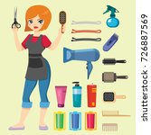 fashion hairdresser with hair... | Shutterstock .eps vector #726887569