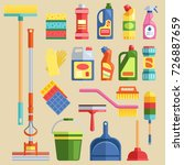 house cleaning tools vector | Shutterstock .eps vector #726887659