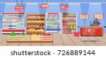 supermarket store interior with ... | Shutterstock .eps vector #726889144