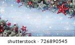 christmas background   fir...   Shutterstock . vector #726890545