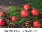 christmas red shiny balls ... | Shutterstock . vector #726901021