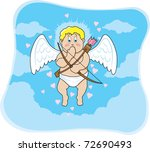floating cupid who is extremely ... | Shutterstock .eps vector #72690493