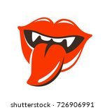 lips  mouth with fangs label or ... | Shutterstock .eps vector #726906991