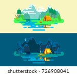 summer camp. landscape with... | Shutterstock .eps vector #726908041