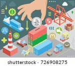 container terminal and maritime ... | Shutterstock .eps vector #726908275