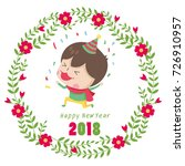 hand drawn vector floral wreath ... | Shutterstock .eps vector #726910957