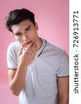 attentive brunette posing on...   Shutterstock . vector #726913771