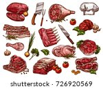 fresh meat sketch icons for... | Shutterstock .eps vector #726920569