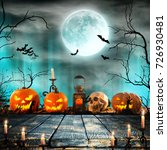 halloween pumpkins on wooden... | Shutterstock . vector #726930481