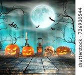 spooky halloween pumpkins on...   Shutterstock . vector #726930544