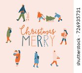 merry christmas card with... | Shutterstock .eps vector #726935731