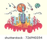 launching rocket into space   Shutterstock .eps vector #726940354