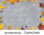 autumn flat lay frame fall... | Shutterstock . vector #726942484