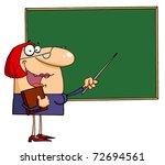 happy female teacher pointing...   Shutterstock . vector #72694561