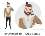 a man is talking on the phone | Shutterstock .eps vector #726946819