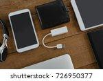 overhead of various electronic... | Shutterstock . vector #726950377