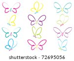 Stock vector hand drawn butterflies in vector format 72695056