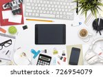 top view office desk... | Shutterstock . vector #726954079