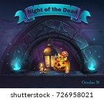 vector halloween cartoon... | Shutterstock .eps vector #726958021