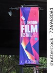 Small photo of LONDON - SEPTEMBER 30, 2017. A British Film Institute Film Festival banner promotes 242 films at 15 venues in the city over 12 days, flying under Waterloo Bridge on the South Bank in London, UK.