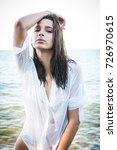 young lady with wet hair in... | Shutterstock . vector #726970615
