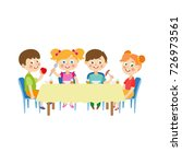 vector flat cartoon children at ... | Shutterstock .eps vector #726973561