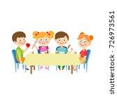 vector flat cartoon children at ... | Shutterstock .eps vector #726973561
