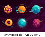 cartoon fantasy planets set....