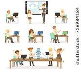 school children at the... | Shutterstock .eps vector #726984184