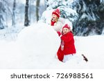 children build snowman. kids... | Shutterstock . vector #726988561
