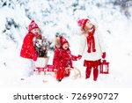 children with christmas tree on ... | Shutterstock . vector #726990727