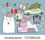 winter elements. hand drawn... | Shutterstock .eps vector #727000165