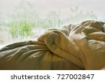 the rumpled bed in hotel | Shutterstock . vector #727002847
