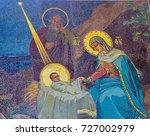 mosaic of nativity scene in...   Shutterstock . vector #727002979