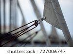 furling gib sail on sailing... | Shutterstock . vector #727006747
