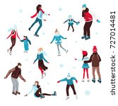 collection of people skating ... | Shutterstock .eps vector #727014481