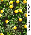 seamless citrus pattern with... | Shutterstock .eps vector #727020409