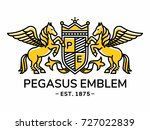 pegasus emblem heraldry line... | Shutterstock .eps vector #727022839
