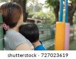 woman hug his son  close up ... | Shutterstock . vector #727023619