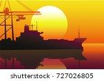sunset port  vector | Shutterstock .eps vector #727026805