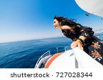 boat woman smiling happy... | Shutterstock . vector #727028344