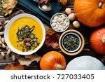 autumn pumpkin soup with... | Shutterstock . vector #727033405