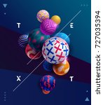 decorative colorful 3d balls.... | Shutterstock .eps vector #727035394