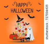 happy halloween card  flyer. | Shutterstock .eps vector #727036435