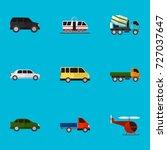 set of 9 editable vehicle flat... | Shutterstock .eps vector #727037647