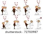 set of wedding pictures  bride... | Shutterstock .eps vector #72703987